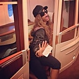"""Tyra Banks showed off a snap of her """"next level"""" airplane seat. Source: Instagram user tyrabanks"""
