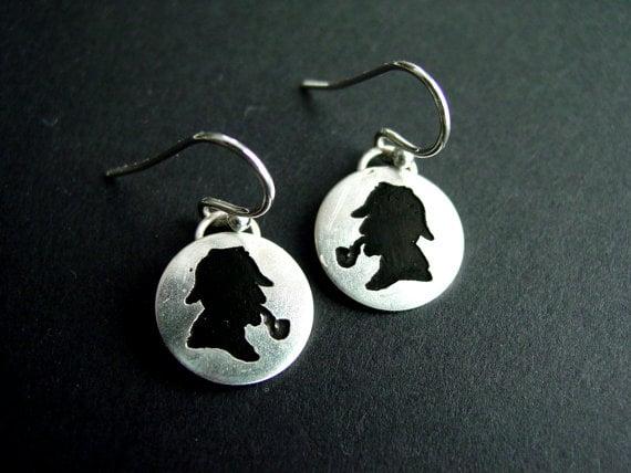 Etched Sherlock Earrings