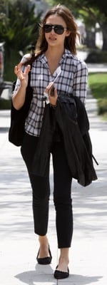 Jessica Alba Wears a Plaid Tunic in LA
