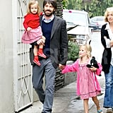 Ben Affleck took his daughters Seraphina and Violet to a farmers' market in Los Angeles.