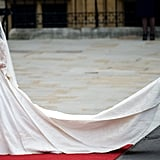 Pippa fulfilled her duties as maid of honour as she helped Kate make her way into Westminster Abbey in April 2011.