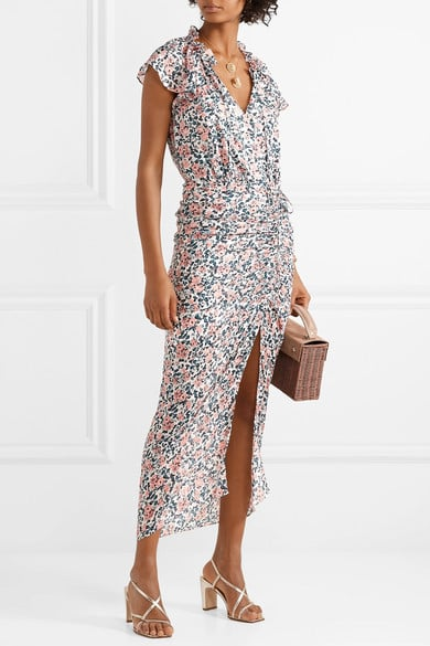 87ee2b4bb Veronica Beard Brynlee Wrap-Effect Ruched Floral-Print Midi Dress ...