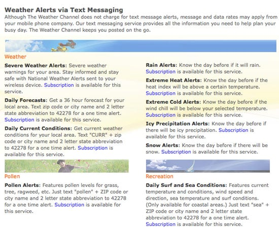Specialized Text Alerts