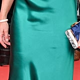 Robin Wright Carrying a Blue Velvet Hayward Clutch