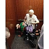 """This lady was stuck in an elevator with some college students back in April. She said, 'I am unable to stand for long periods of time.' Cesar immediately became a human chair for her so she could sit until the elevator started back up again. Would you have done the same?"""