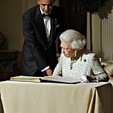 The following evening, the president hosted the queen at Winfield House — the official residence of the US ambassador.