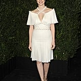 Jessica Chastain chose a white Chanel silk-pleated dress, complete with a crisscross jewel-encrusted neckline, from the Haute Couture Spring '13 collection. Her swept-back hair let us focus on the stunning outfit at hand.
