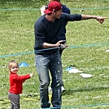 David took Harper to watch her big brother Cruz play soccer as part of his school's annual sports day in London in July.