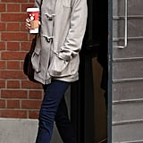 Taylor Swift gave us a preppy denim rendition in skinnies, oxfords, and a trench.