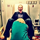 Jesse Tyler Ferguson goofed around in a doctor's chair on the set of Modern Family. Source: Eric Stonestreet on WhoSay