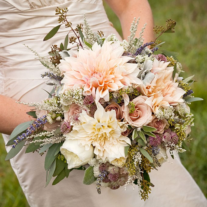 Romantic Garden Wedding Ideas In Bloom: A Rustic-Romantic Bouquet Of Dahlias And Roses Tying The
