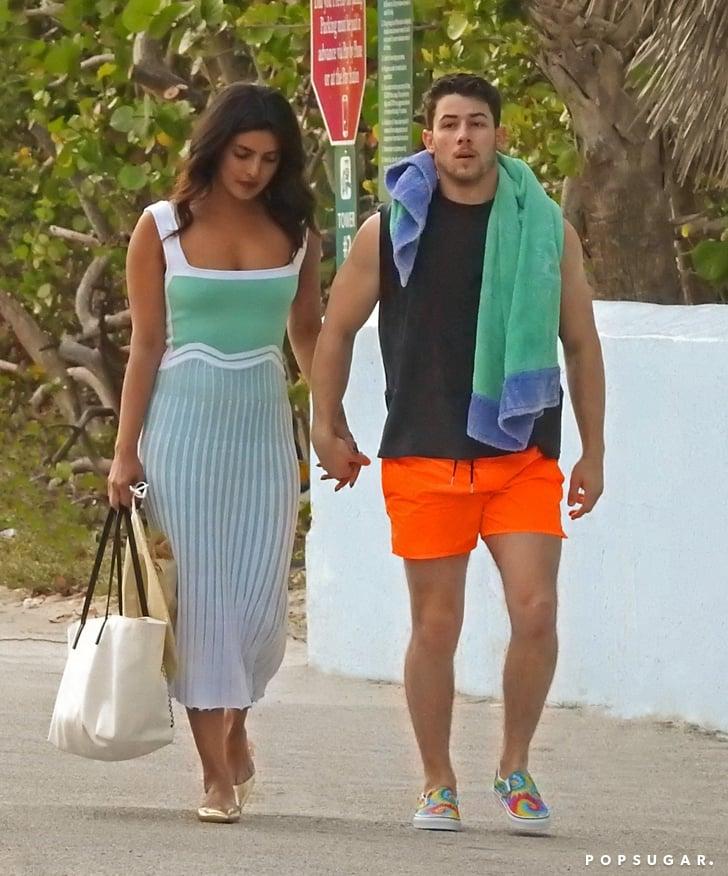Priyanka Chopra Blue Dress Miami With Nick Jonas
