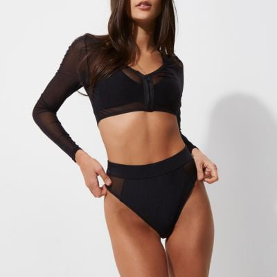 River Island Womens Black mesh long sleeve bikini top