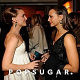 Natalie Portman had a conversation with Rashida Jones at Vanity Fair's Oscar afterparty.
