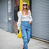 A puff-sleeve top looks perfect juxtaposed with cargo jeans