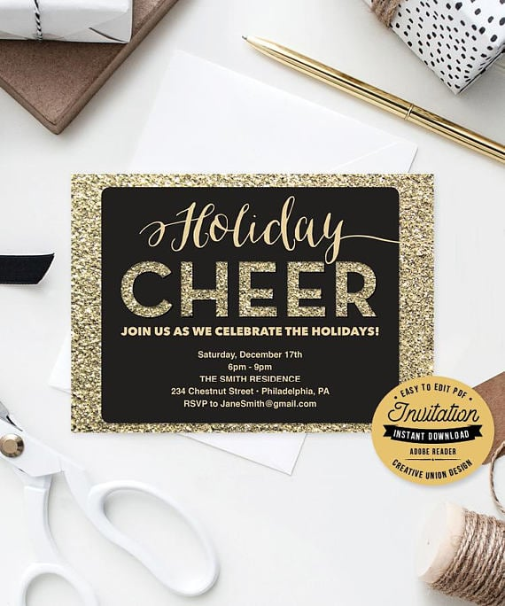 Holiday Cheer Party Invitation Printable Holiday Party Invitations