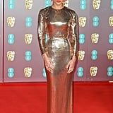 Zoë Kravitz's Gold Saint Laurent Dress at the BAFTAs 2020