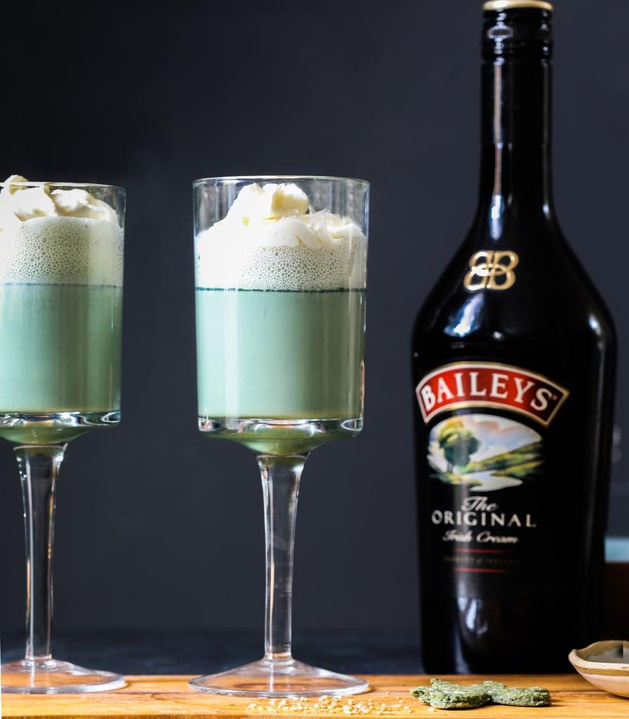 St Patrick's Day Baileys Mint Milkshake with Spirulina