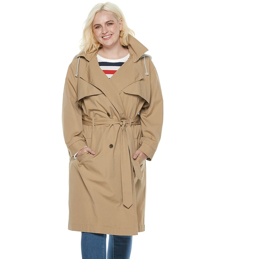 POPSUGAR at Kohl's Collection Hooded Chambray Trench Coat