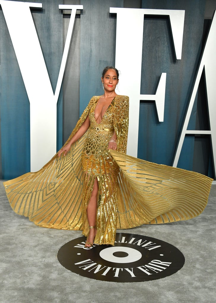 Tracee Ellis Ross Gold Dress Vanity Fair Oscars Party 2020 Popsugar Fashion