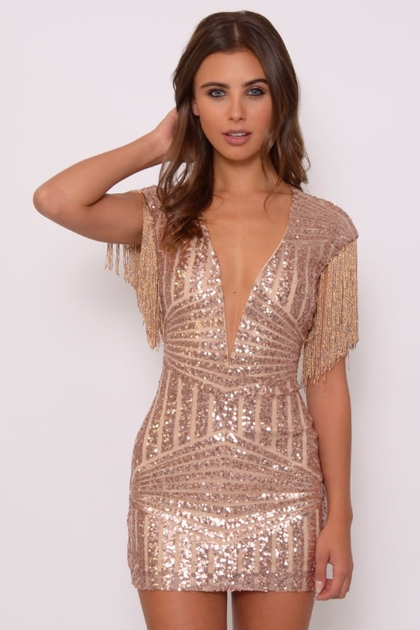 Rare London Limited Edition Rose Gold Sequin And Fringe Mini Dress