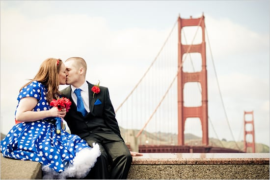 The Dress Forget the pressure to wear a floor-length, white ballgown down the aisle, when you elope you can wear whatever you want —like a fun blue-and-white, polka-dot frock! I especially love all the short dresses and fun colors. Photo by Mike Murrow Photography via Wedding Chicks