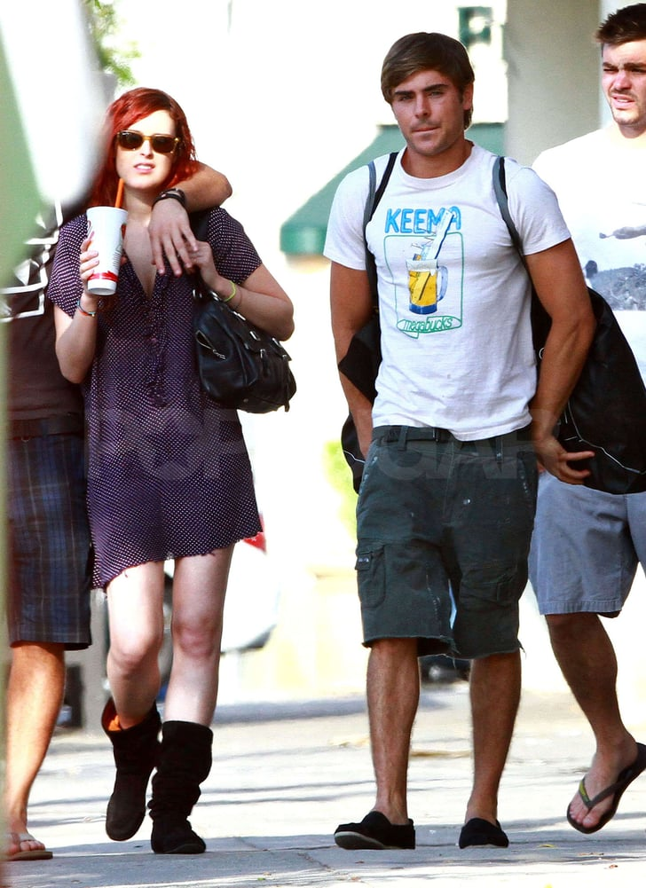 Zac Efron shopped with a group of friends including Rumer Willis.