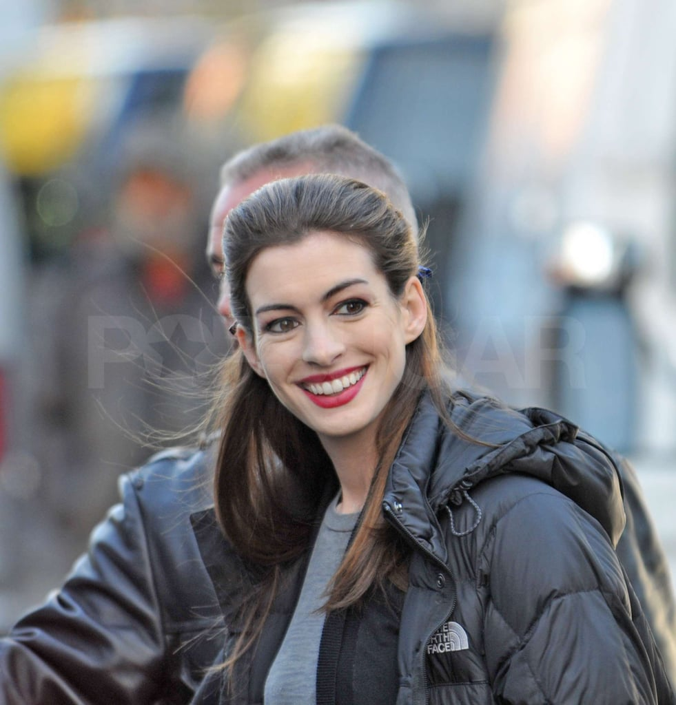 Anne Hathaway Flashed A Smile As She Was Escorted To The