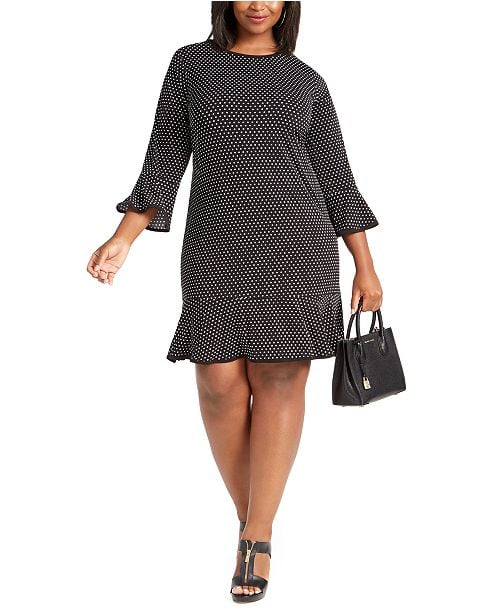 Michael Kors Dot-Print Flounce-Hem Dress