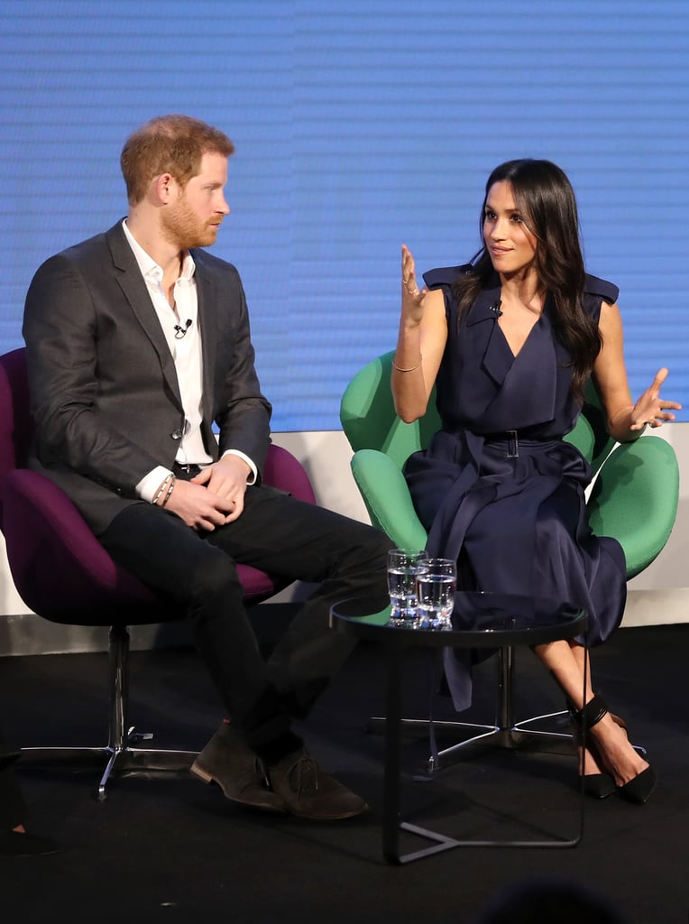 Meghan joined Prince Harry, Kate Middleton, and Prince William in February 2018 for the first annual Royal Foundation Forum in London. She styled a navy Jason Wu trench with black Aquazzura heels for the occasion.