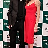 Lady in red! Angelina wore a form-fitting L'Wren Scott LRD for the Japan premiere of Moneyball in Tokyo in 2011.