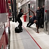 Ben bangs out a few one-armed push-ups in the firehouse, as one does.