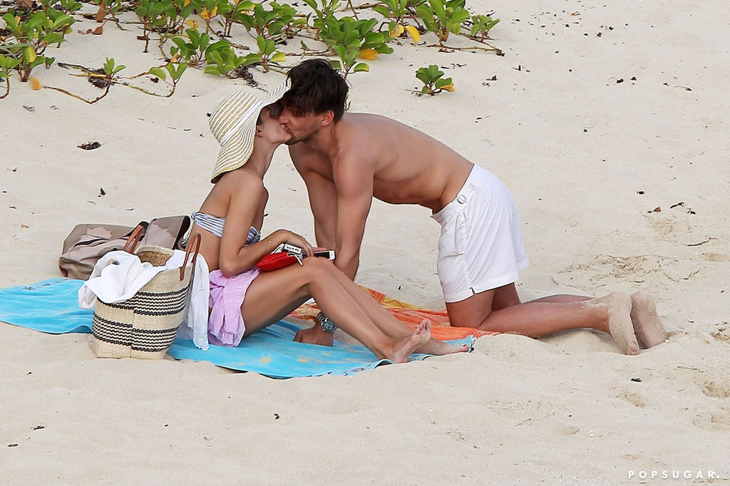 After getting engaged in January 2014, Olivia Palermo and Johannes Huebl smooched on the sand in St. Barts.