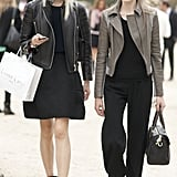 Models perfected their off-duty cool in leather and black.