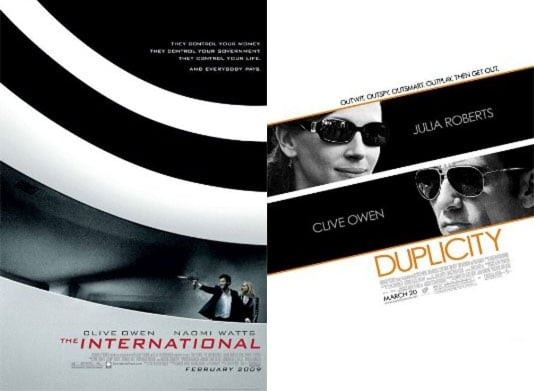 Duplicity and The International, Clive Owen Movies