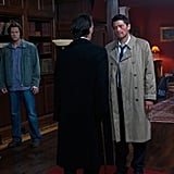 Jared Padalecki as Sam Winchester, Jim Beaver as Bobby Singer, Misha Collins as Castiel, and Julian Richings as Death on Supernatural.  Photo courtesy of The CW