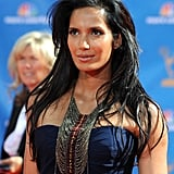 Padma Lakshmi's tribal necklace from her namesake line spiced up her navy gown.