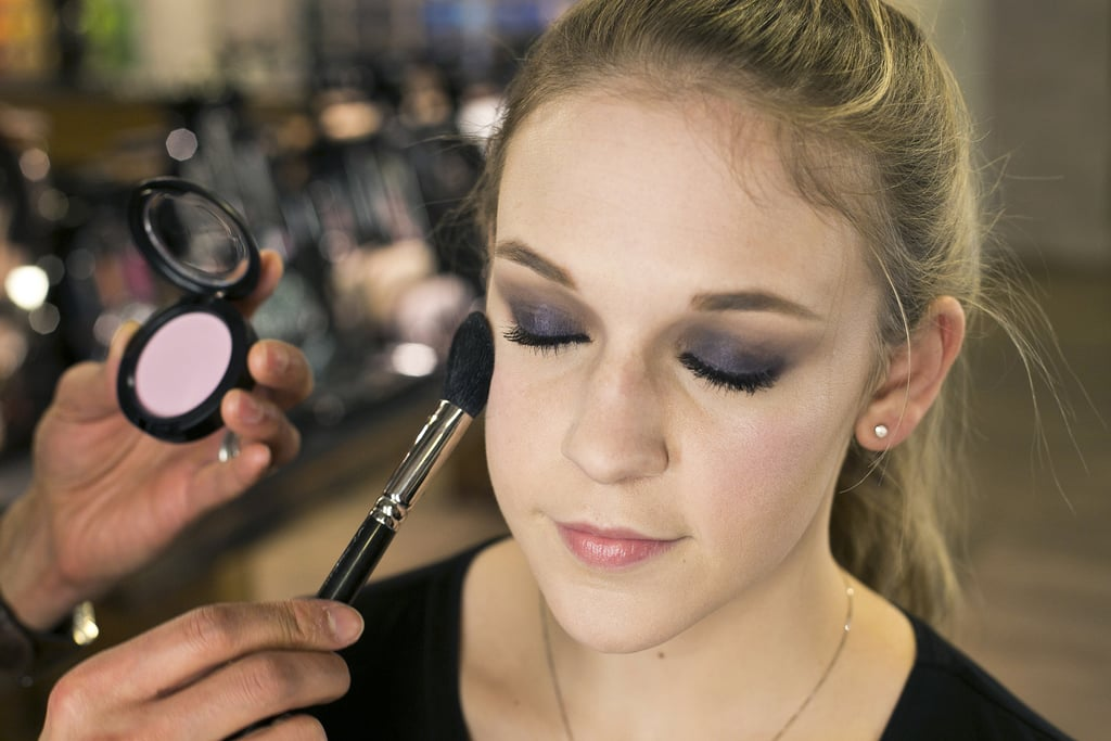 """Blush goes between the highlight and contour,"" Jennings explains. Sweep it on the apples of the cheeks and blend out toward the top of your cheekbones for an uplifting effect.   To complement the deep purple smoky eye, try a lavender blush, like Full of Joy ($22). For medium to dark complexions, Jennings recommends the Breath of Plum shade."