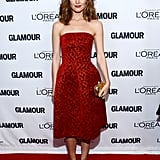 Rose Byrne dared to wear red on the red carpet for Glamour and stood out from the sea of neutrals and black in Jonathan Saunders's scarlet cocktail dress.
