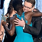 Matt hugged Lupita Nyong'o after presenting the actress with her first SAG trophy.