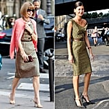 Anna Wintour and Giovanna Battaglia each took Prada's Fall '13 checkered sheath to the streets of Fashion Week.