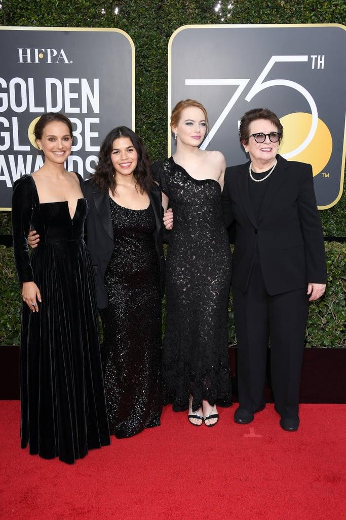 Pictured: Natalie Portman, America Ferrera, Emma Stone, and Billie Jean King
