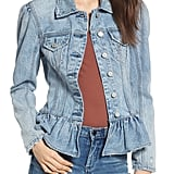 BLANKNYC Situationship Denim Peplum Jacket