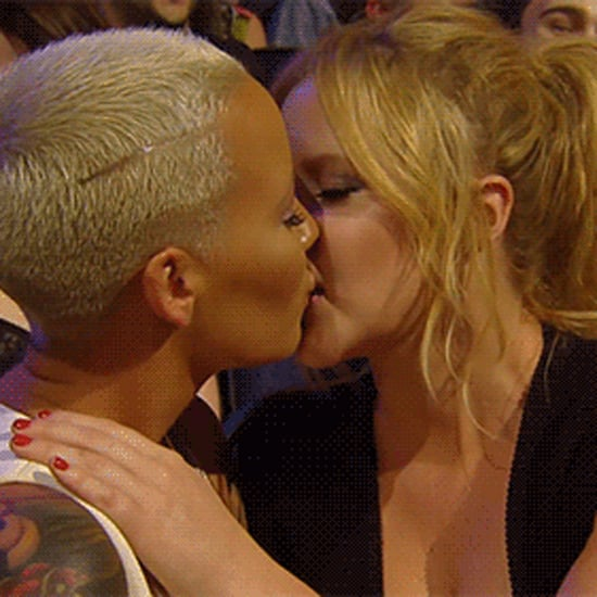 Amber Rose and Amy Schumer Kiss at MTV Movie Awards 2015