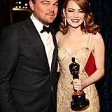 Emma Stone and Leonardo DiCaprio at the 2017 Oscars