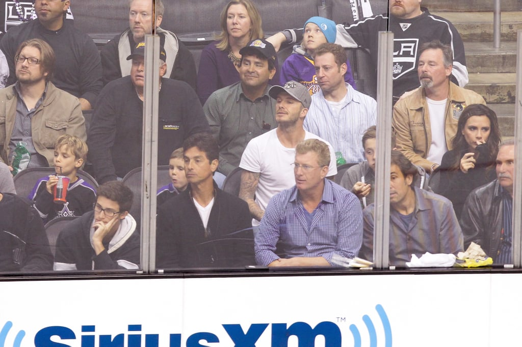 David Beckham and Victoria Beckham watched the game intently with their sons at the Staples Center in LA.