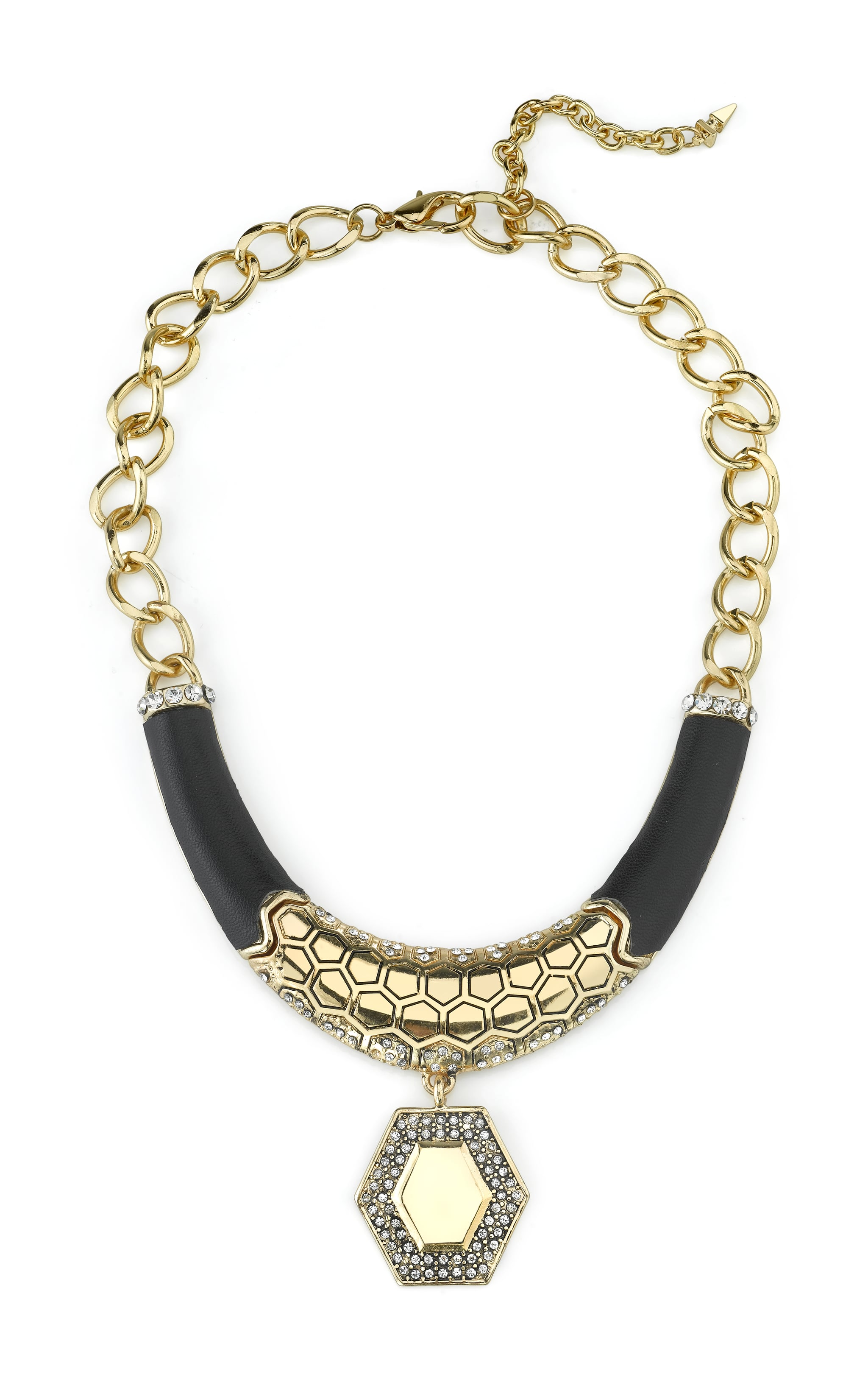 Honey Hexagon And Black Leather Necklace