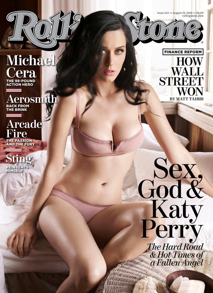 Katy rocked light pink lingerie for Rolling Stone's August 2010 issue.