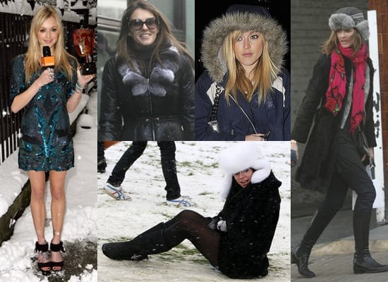 Fearne Cotton, Lily Allen, Liz Hurley and Trinny Woodall Brave the Cold Weather