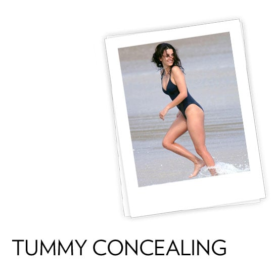 Tummy Concealing: You're built a little more like an apple shape and carry your weight mostly in your middle. What to look for: Whether you prefer to be covered up or you're out to slim your middle, there are a number of one-piece and two-piece suits, like high-waisted or tankini styles, that help to smooth out your middle. Tips and tricks from Audrey Jimenez, fit and style expert for Everything But Water:  Shirring is your best friend. The gathered fabric hides bulges and creates definition in the waist. A figure-flattering surplice wrap silhouette trims the waist with its crossover fabric.  In this photo: Penelope Cruz